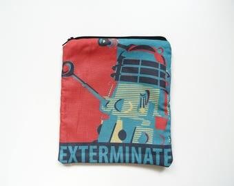 Trousse pochette Dr Who, Dalek EXTERMINATE! style rétro vintage, série TV