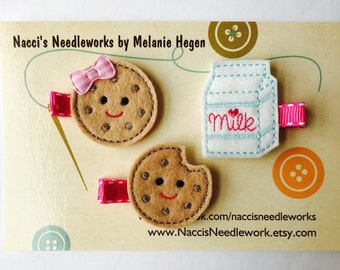 Felt Hair Clips- Cookies and Milk Hair Clip- Sold in set or individually
