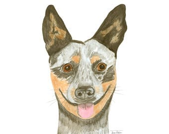 Australian cattle dog art print, house pet animal face mugshot picture, illustration, watercolor graphite painting, mud room library decor
