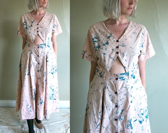 Vintage 1980's Cotton Cut Out Flower Print Dress in Dusty Pink and Blue, Women's Large