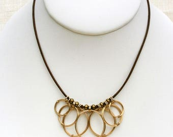 Gold Open Circles Leather Necklace Gold Rings Pendant Cluster Charm Necklace Wire Jewelry Tribal Jewelry