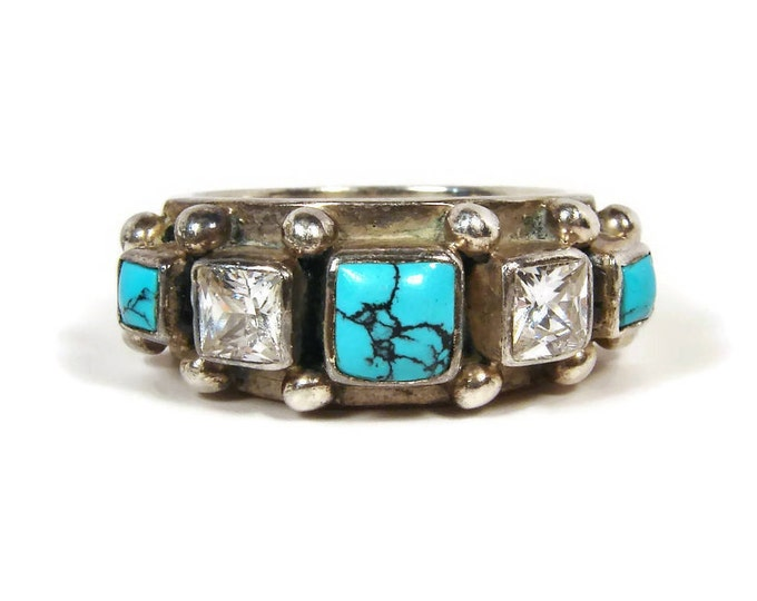 KUMKUM Sweden Turquoise Zircon Sterling Ring