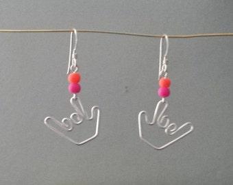 Sign Language Earrings - Candy Beads - Handmade