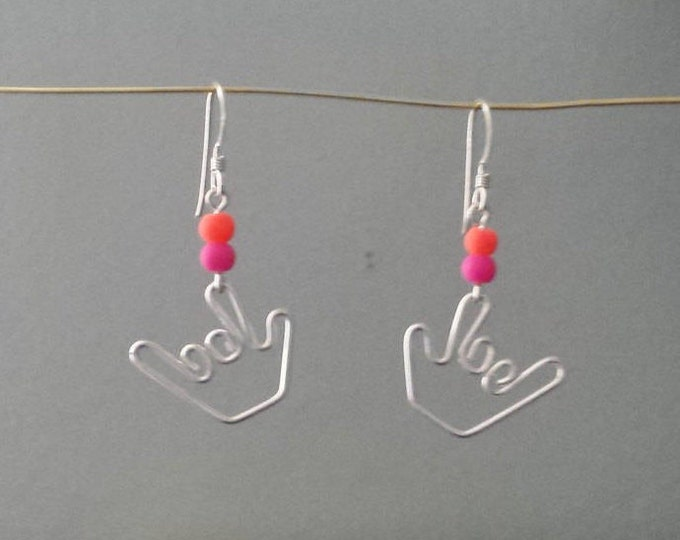 Sign Language Earrings - Candy Beads - Handmade