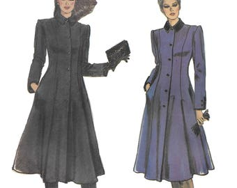 Vogue 7829 Misses 80s Semi-Fitted Flared Knee Length Coat Sewing Pattern Size 8 Bust 31 1/2