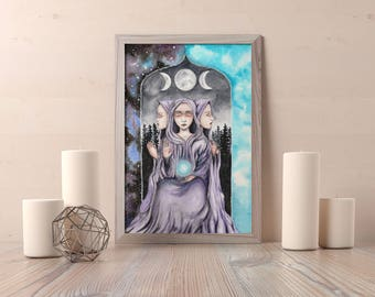 The High Priestess -  High Priestess Card by  Rachael Caringella - Tree Talker Art - Tarot Card Art