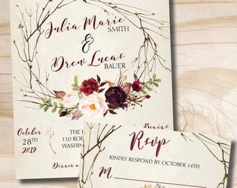 Rustic Wedding Invitation Response Card Invitation Suite, Watercolor Floral, Bohemian Wedding, Woodland Wedding - Invitation - Response