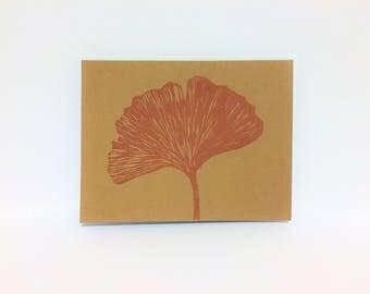 Ginkgo Leaf Cards - /red Ginkgo leaf Linocut Cards - Gingko leaf Prints - Ginkgo leaf linocut Prints - Red Gingko leaf card Set