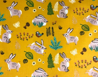 Organic cotton Fabric, Baby Rabbits 100%  certified organic cotton fabric for Quilting crafting and all sewing projects.