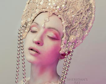 Pearl 'Nacre' Luxury Velvet Couture Beaded Headdress