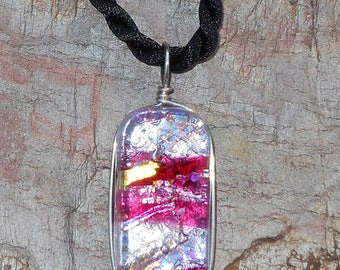 Fused Dichroic Art Glass Pendant with Satin Cord