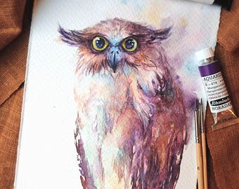 Fish owl - ORIGINAL watercolor painting 7.5x11 inches