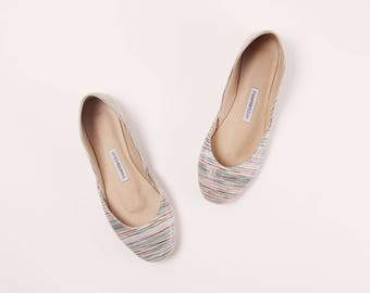 Handmade Leather Ballet Flats | Stripey | Ballet Flats | Last Pair, size 42 | Ready to Ship