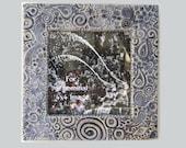 Organic Stamped 6x6 MUD Pi Decorative Handmade Ceramic Frame for 4x4 Picture