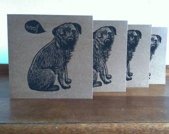 Linocut Cards Set of 4, Border Terrier, Original Hand Printed Cards, Blank Greeting Cards, Brown Kraft Cards, Free Postage in UK,