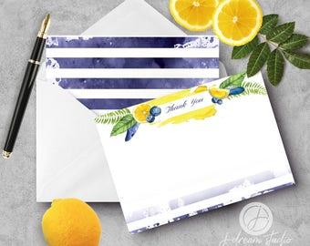 "A2 Flat Notecard Set - ""Blueberry Lemonade Stripe 2"""