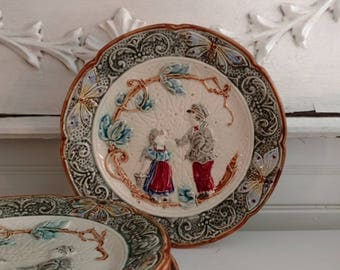 French Barbotine Majolica Antique Vintage Plate with Boy and Girl and Butterfly Detail 5 available