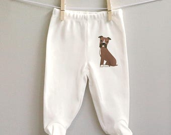 Baby pants with feet, Boxer footed baby pants, organic cotton baby pants, Boxer baby gift