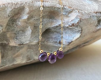 Dainty Amethyst Necklace in Gold or Silver