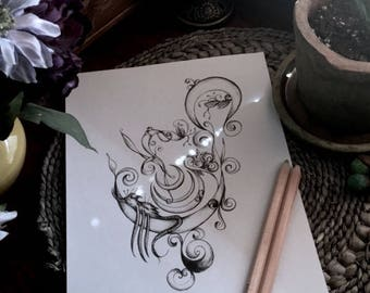 Adult Kids Coloring Page Moon Monsters Original Nature Art Crescent Creatures