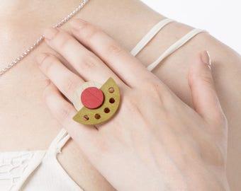 Wood ring bohemian, Rings for women, Statement Ring, Big Ring, Modern Ring, Contemporary geometric ring, Red green white ring, Trendy ring
