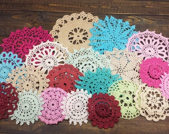20 Colorful Doilies, Set of Hand Dyed Crochet Craft Doilies and Decorating, Wedding Doilies, Small Hand Crocheted Doilies, 2.5 to 5 inch