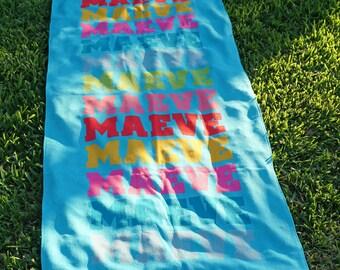 Name In Brights Aqua Personalized Beach Towel   Kids Towels   Custom Camp Towels   Custom Printed Towel   Monogrammed Pool Towel