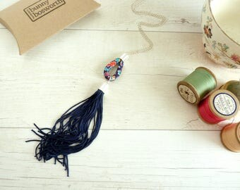 Blue Tassel Pendant - Long Tassel Necklace - Blue Statement Pendant - Liberty Print Pendant - Gift for Girlfriend - Festival Fringe Necklace