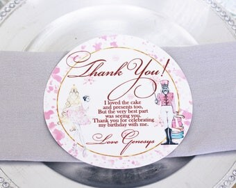 Nutcracker Ballet Die Cut Circle Welcome/Thank You Card/Ballerina/Swan Princess Round Thank You/Welcome Card