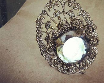 Vintage Brass Filigree and Vauxhall Glass Ring Adjustable