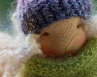 Sarah, Waldorf Inspired Doll, Pocket Doll  7 in Cuddle Doll, Soft Toy, OOAK doll by Atelier Lavendel, ECO friendly