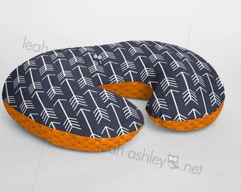 Boppy® Cover, Nursing Pillow Cover - Navy Arrows MINKY with Orange MINKY Dot or MINKY Smooth - Choose Your Minky Type - BC2