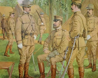 U.S. Army Brigadier General, Staff & Line Officers Uniforms c1902 by H.A. Ogden, Vintage 1960 Large 12x16 Art Print, FREE SHIPPING