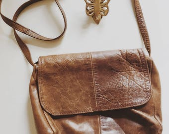 Vintage leather purse, boho leather bag, small leather travel purse,leather cross body purse, worn in leather bag