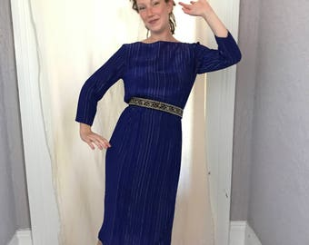 70's Vintage Rayon Metallic Threads Disco Secretary Dress sm