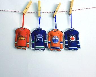 Hockey Ornaments- Set of 4 Canadian hockey jersey ornaments- Western hockey teams