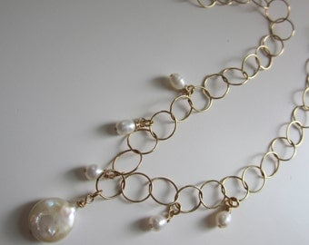 Freshwater Pearl Necklace on a 14k GF Circle Chain