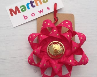 Fuchsia pink, gold polka dot, double rosette bow, gold central button