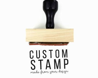 "Custom 1.5"" x 2.5"" Rubber Stamp - Your Logo, Drawing or Design - Wood Mounted and Top-Engraved w/Handle Rubber Stamp by Creatiate"