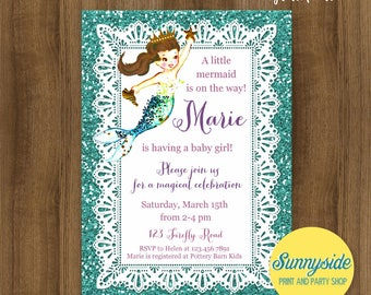 Mermaid Baby Shower Invitation // Printable or Printed invites with faux glitter // baby girl // blonde or brunette mermaid // ocean, sea