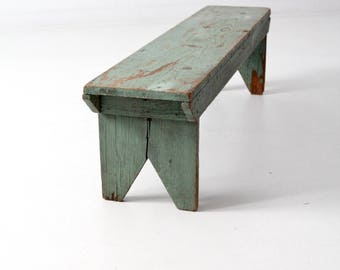 primitive bench, antique rustic country wooden bench