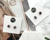 Raw Amethyst Stud Earrings, Statement Stud Earrings, Gemstone Earrings, Purple Stud Earrings, Minimal Earrings, Birthstone Earrings, gift