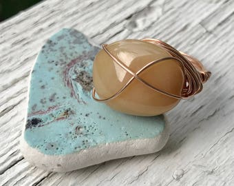 Wire wrapped 14k rose gold fill yellow opal ring