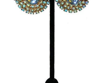 Vintage Hattie Carnegie 1950s Blue Rhinestone Earrings