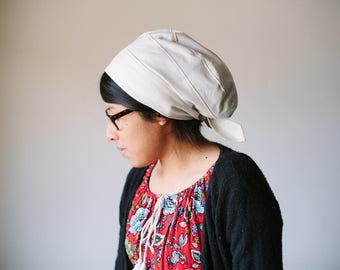Beige Solid Cotton Snood Headcovering | Women's Headcovering Veil