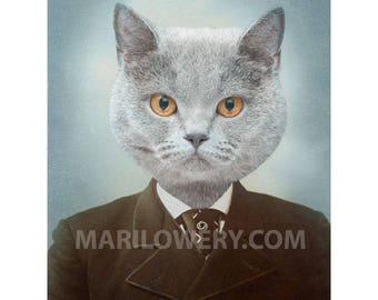 Gray Cat Art Print, Animal in Clothes, Cat in Suit, Anthropomorphic, Collage Art, Animal Portrait, 5x7 or 8x10 Print