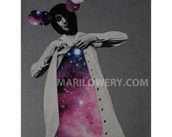 Surreal Paper Collage  8.5 x 11 Inch One of a Kind Purple and Gray Retro Space Art, Avante Garde Fashion Art, Surreal Art, frighten