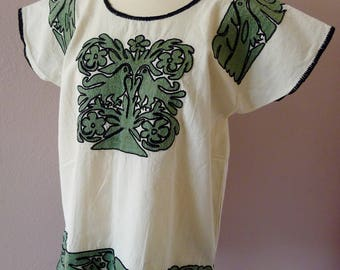 "Oaxaca huipil blouse embroidered Ayautla sage green floral birds boho Mexican resort tunic Frida Kahlo  22'W X 28""L MEDIUM"