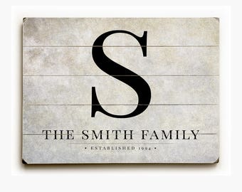 Personalized Rustic Family Name Sign on Wood Planks, Monogram Sign, 12x16, Wedding Gift, Custom Family Sign on Wood, Anniversary Gift.