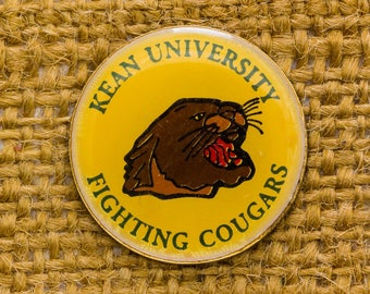 Kean University Enamel Vintage Lapel Pin Fighting Cougars New Jersey Round Union Made USA Button Vtg Pin 7AN